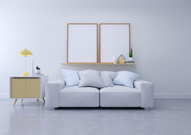 リビングルームと居心地の良いリビングスタイルのモダンなインテリア