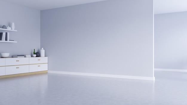 モダンな空のリビングルームのインテリア、白い壁、黒いフレームウィンドウとコンクリートの床