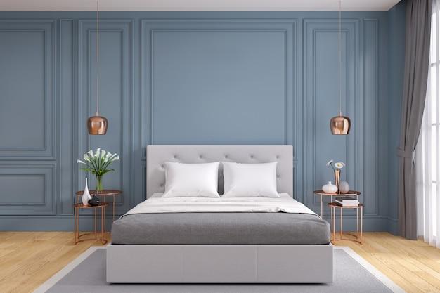 Современная и винтажная спальня, концепция уютной серой комнаты