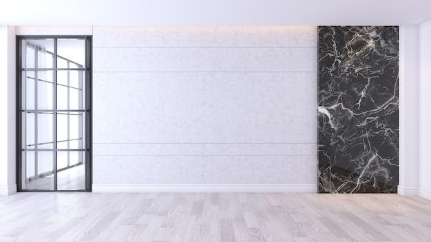 Современный и минималистский интерьер гостиной, деревянный пол и бетон с мраморной стеной