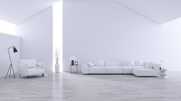 広々としたモダンでミニマルなリビングルーム、黒と白のインテリア