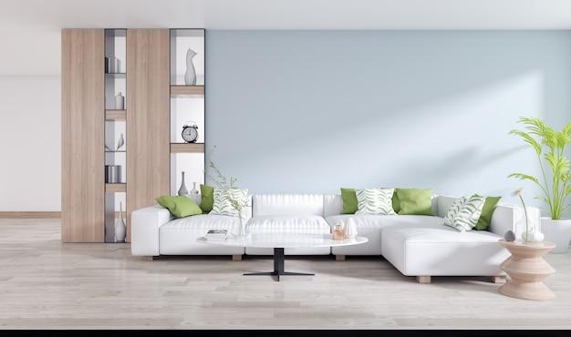 Белый диван с металлической полкой на синей стене и деревянный пол в интерьере гостиной