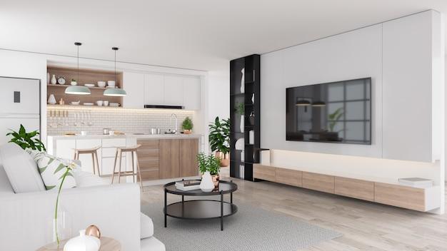Современный интерьер гостиной и кухонной комнаты середины века