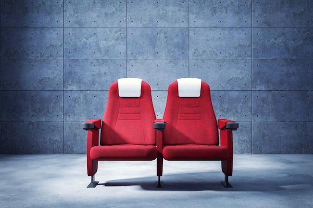 Кинотеатр сиденье и копией пространства, фон бетонная стена