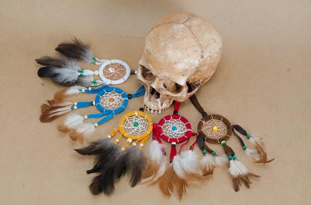 人間の頭蓋骨とドリームキャッチャー