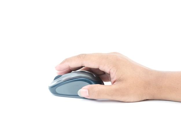 現代のコンピューターのマウスを手でクリック