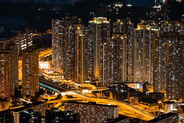 Гонконг городской пейзаж ночью