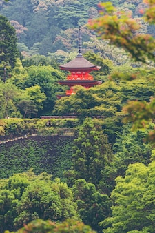 日本の古い赤い寺院