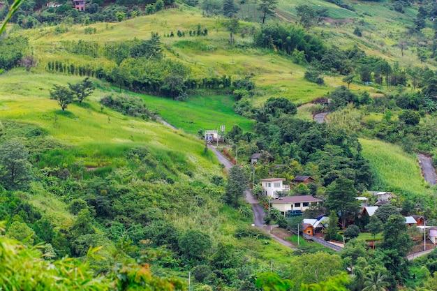山の中の村の家