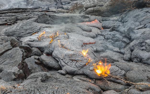 溶岩畑のマグマを閉じます。ハワイ火山国立公園