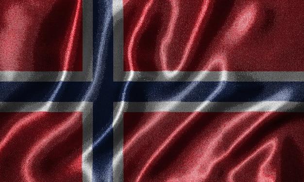 ファブリックによるノルウェーの旗と波打つ旗の壁紙。