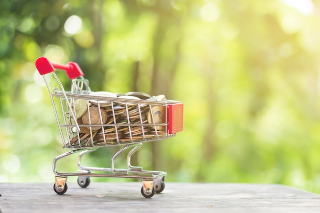 ミニショッピングカートまたはトロリーのビジネスと金融の概念のコピースペースでぼやけた自然な緑に対してお金コイン