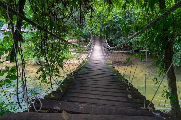 Маленький деревянный висячий мост, пересекающий тропическую реку с чистой водой и окружающий