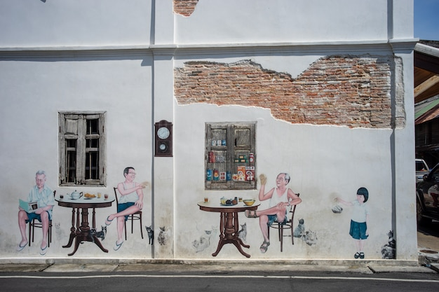 タイ南部のソンクラー旧市街にある古い建物の落書き。