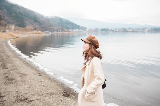 川口湖、日本の美しい女性