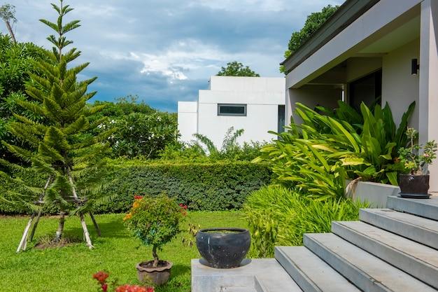 自然環境の中の美しいモダンな家