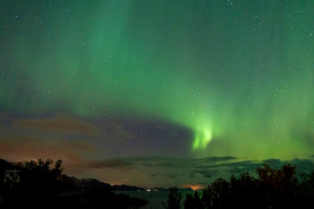 Красочное северное сияние в небе