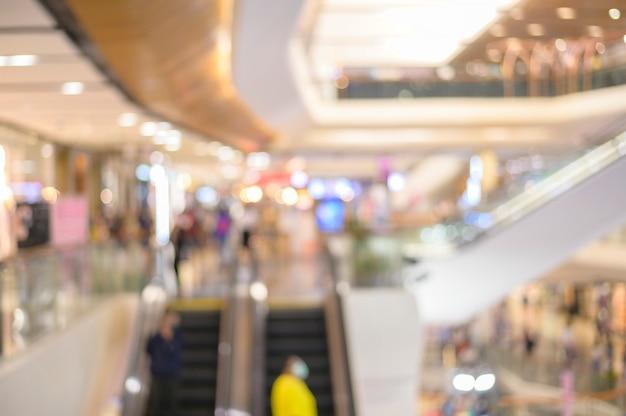 ショッピングモールの背景、ビジネス背景コンセプトのぼやけ