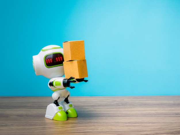 テクノロジーロボット保有産業ボックスや人間の代わりに働くロボット