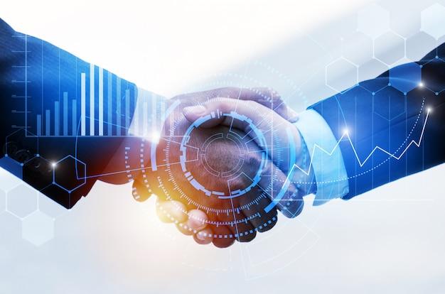 Рукопожатие делового человека с подключением связи глобальной сети влияния и диаграммой диаграммы графической диаграммы фондового рынка