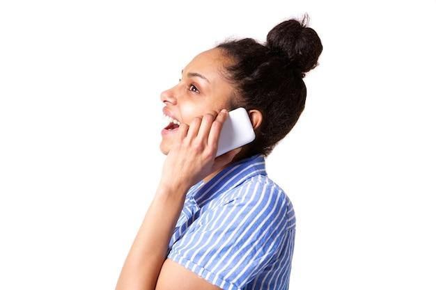 若い、女、笑い、話す、携帯電話