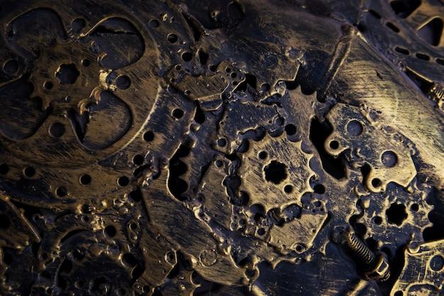 古いゴールドメタルのメカニックパーツテクスチャ背景