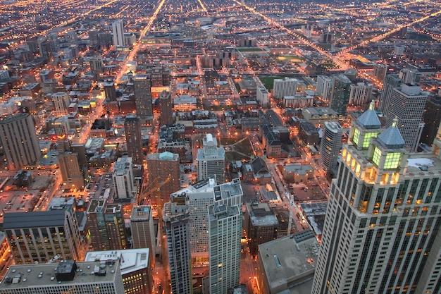 シカゴのトップビューのスカイラインの街並み