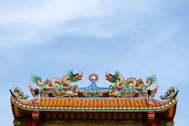 中国の寺院の門と青い雲の屋根の上の二重ドラゴン
