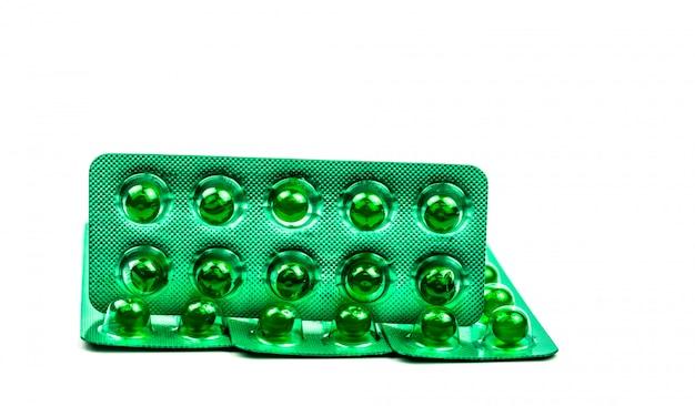Зеленые круглые мягкие капсулы таблетки с копией пространства