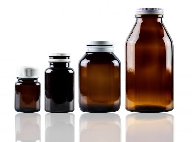 Контейнер для лекарств из янтарного стекла с закрытой крышкой