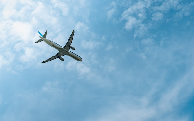 民間航空会社。旅客機は、美しい青い空と白い雲と空港で離陸します。フライトを離れる。海外旅行を開始します。休暇。幸せな旅。明るい空を飛んでいる飛行機。