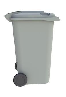 白い背景に閉じた蓋のゴミゴミゴミ箱の横に表示