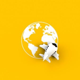Крупный план самолета на иллюстрации концепции земного шара на желтом фоне