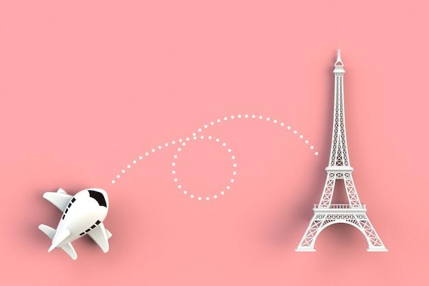 Крупный план полета самолета идти к концепции эйфелевой башни концепции на розовом фоне