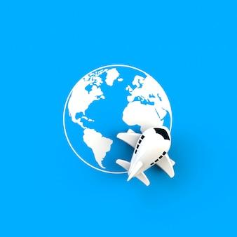 Закройте самолет на иллюстрации концепции глобус на синем фоне