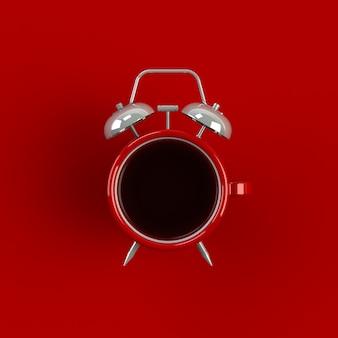 赤の背景に分離された目覚まし時計とコーヒーの概念図