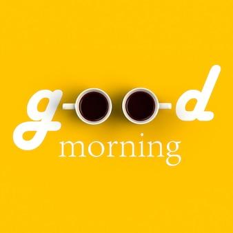 Вид сверху на чашку кофе в форме доброго утра, изолированных на желтом фоне