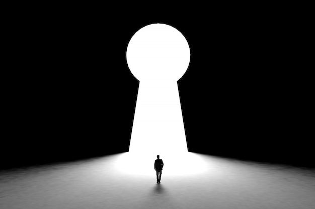 鍵穴のドアの背景を持つ壁の前に立っているミニチュア実業家