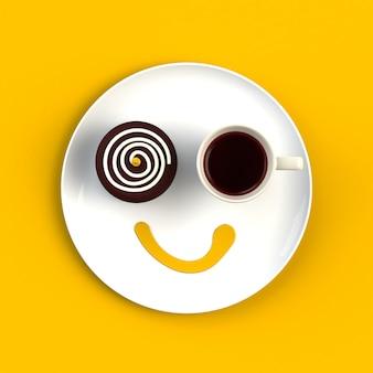 黄色の背景に分離された笑顔の形でケーキとコーヒーのカップのトップビュー
