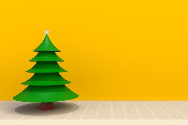 黄色の背景の前に木製のテーブルの上のクリスマスツリー