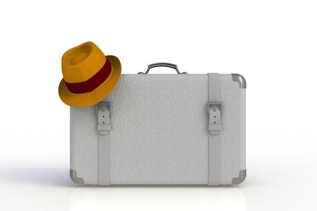 麦わら帽子の白い背景で隔離の旅行者のスーツケース