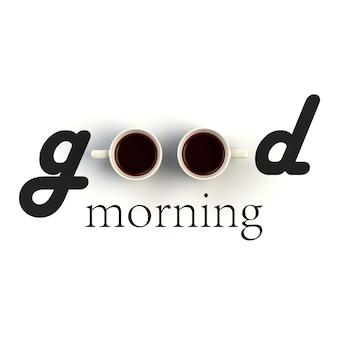 Вид сверху на чашку кофе в форме доброго утра на белом фоне