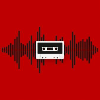 赤い背景の上の音波の概念図とビンテージオーディオテープカセットのクローズアップ