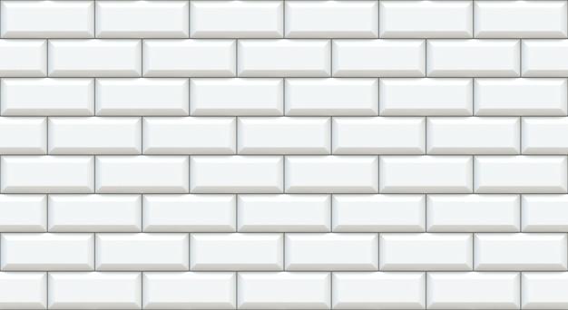 面取りされたエッジを持つ白いレンガ壁の長方形。