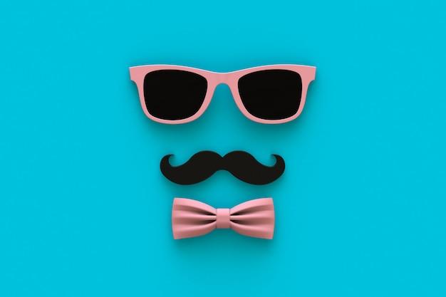 Концепция счастливый день отцов с усами и очки