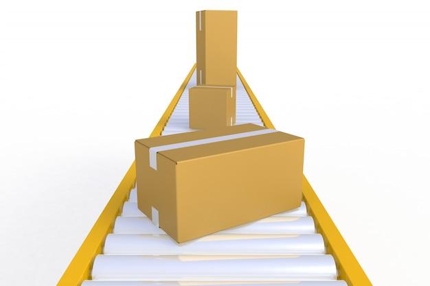 Пустая картонная коробка на желтой конвейерной линии