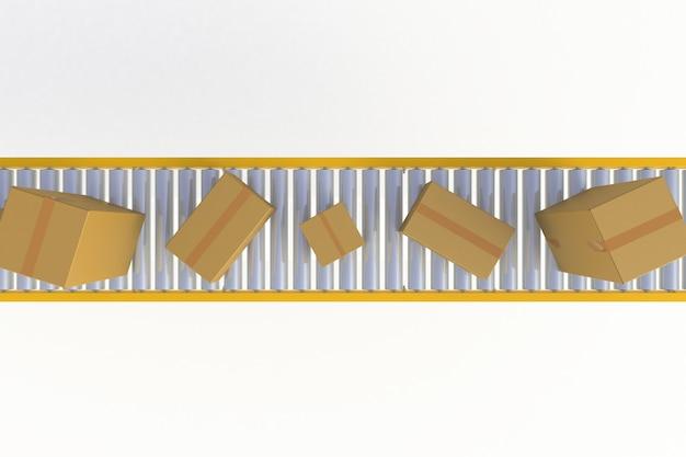 Вид сверху пустые картонные коробки на желтой конвейерной линии