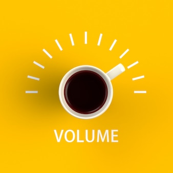 Чашка кофе в виде регулятора громкости на желтом