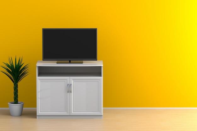 テレビと植物のある空の部屋