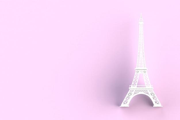 ピンクの白いエッフェル塔